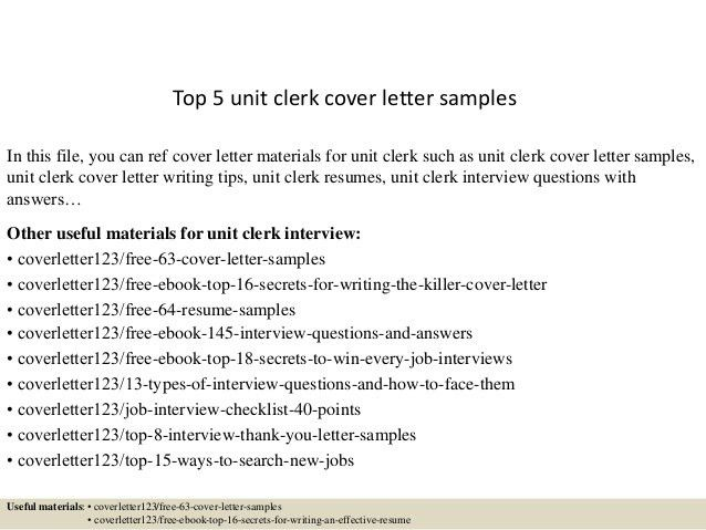 Perfect Unit Clerk Cover Letter Hospital Unit Clerk Cover Letter Top 5