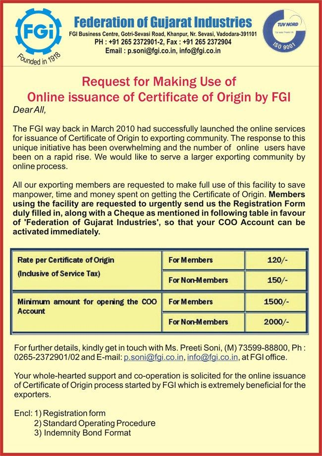 certificate of origin form – Free Online Form Templates