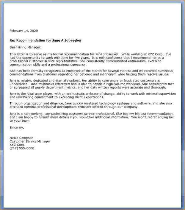 Customer Reference Letter | Manager.billybullock.us