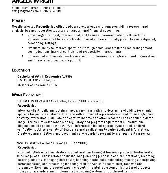 Homely Ideas Sample Resume For Receptionist 11 Sample Resume ...