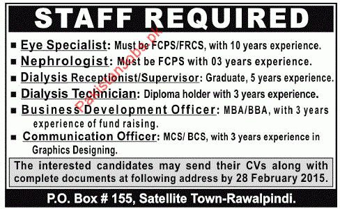 Eye Specialist, Nephrologist, Dialysis Receptionist/Supervisor ...