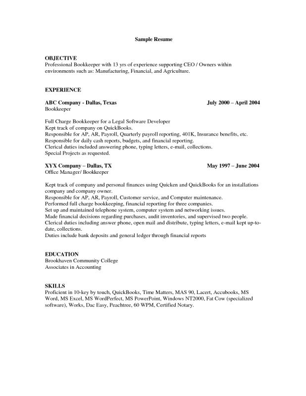 100+ Bookkeeper Resume Samples | Simple Resume Template U2013 39 ...