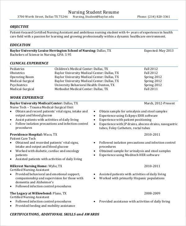 Nurse Resume - 11+ Free Word, PDF Documents Download | Free ...