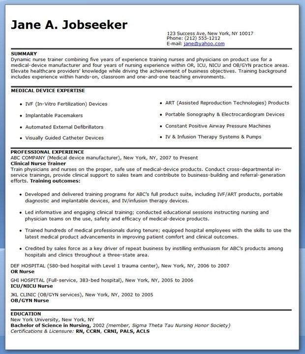 Resume for Nurse Educator Position | Creative Resume Design ...