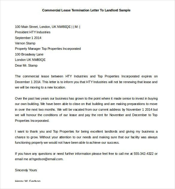 Commercial Lease Termination Letter Template To Landlord Example ...