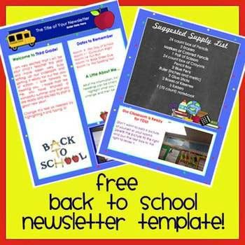 Free! WELCOME BACK TO SCHOOL Newsletter Template WORD by The ...