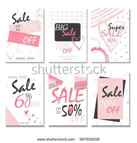 Set 6 Discount Cards Design Can Stock Vector 567059191 - Shutterstock