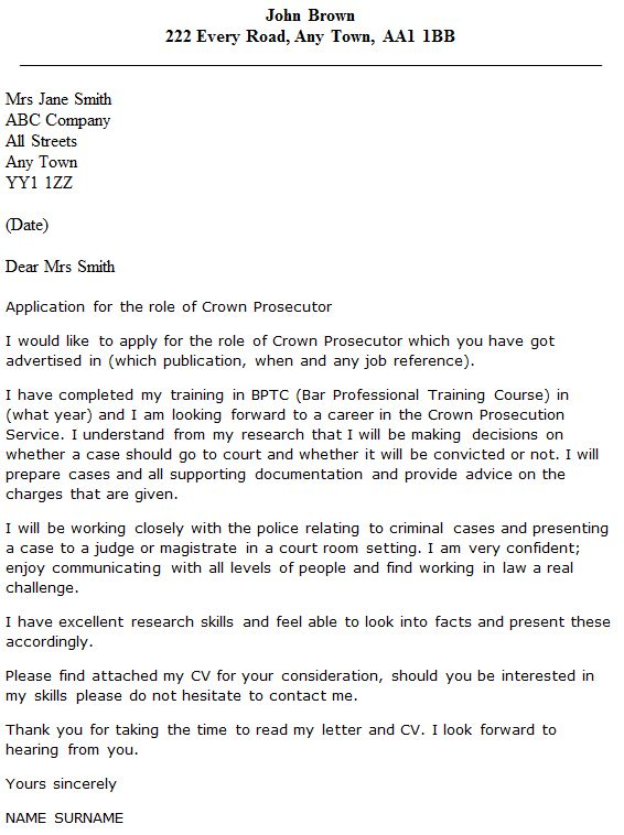 Crown Prosecutor Cover Letter Example - icover.org.uk
