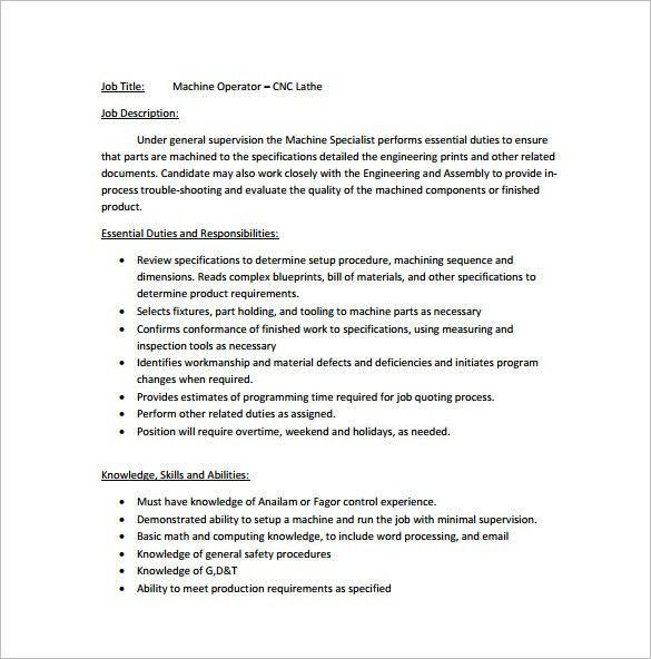 Machine Operator Job Description Templates - 11+ Free Sample ...