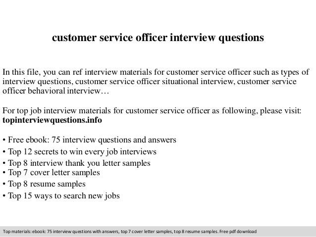 Customer service officer interview questions