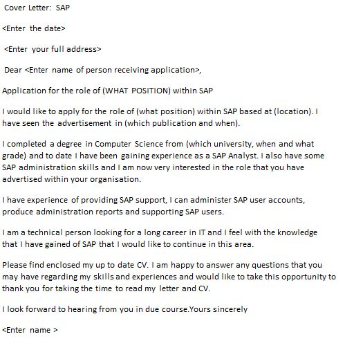 SAP Cover Letter Example - icover.org.uk