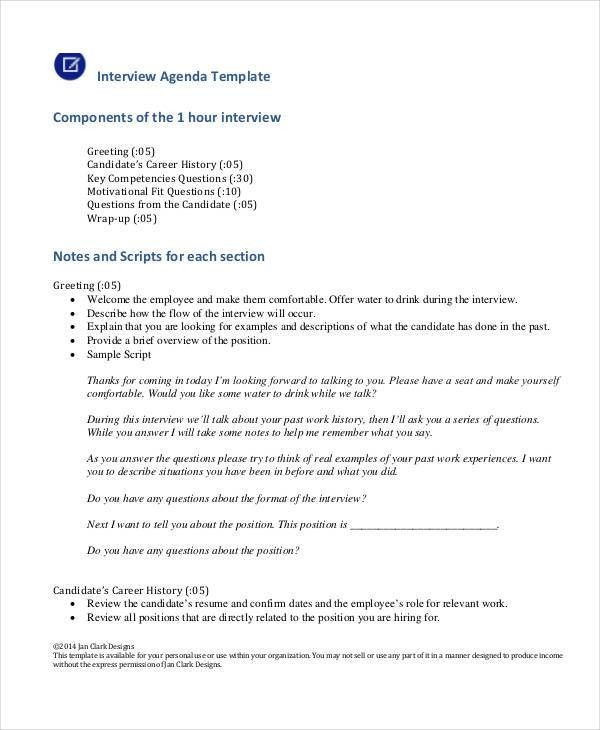 Interview Agenda Templates - 7+ Free Word, PDF Format Download ...