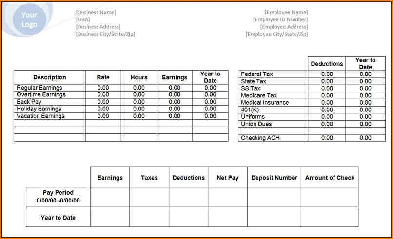 4+ pay stub template | writable calendar