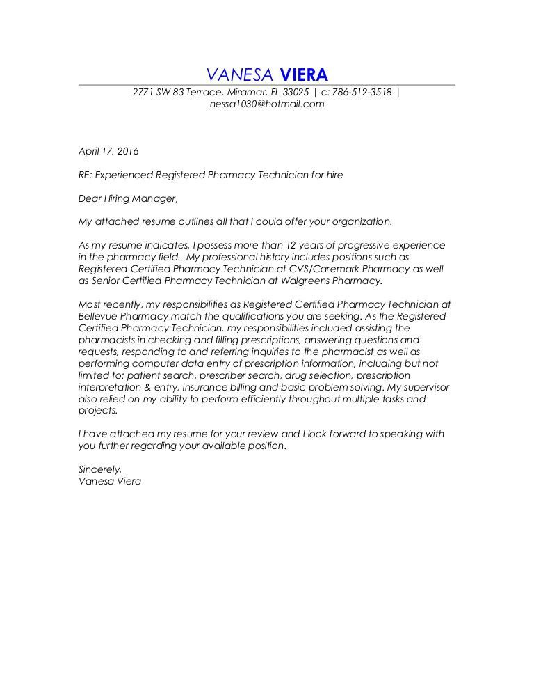 Registered Certified Pharmacy Technician Resume