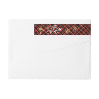 Custom Simple Merry Christmas Wish Tartan Pattern Wrap Around ...