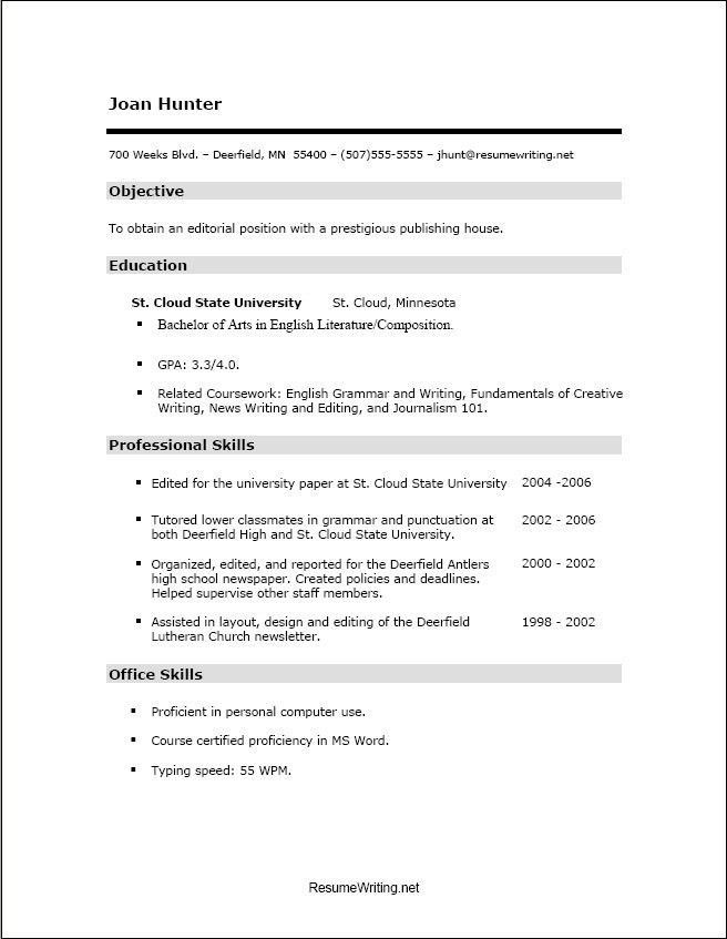 High School Resume Sample No Experience. high school resume ...