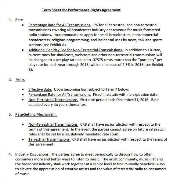 Sample Term Sheet - 6+ Example, Format
