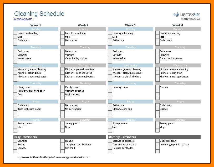 Cleaning schedule template best 25 cleaning schedule templates 11 weekly cleaning schedule template nurse homed pronofoot35fo Images