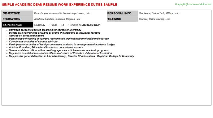 6. 13 useful materials for dean. sample of academic resume for ...