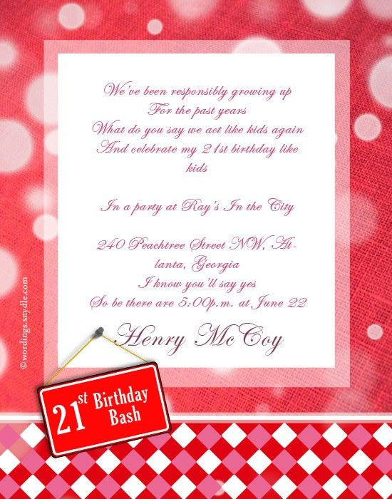 21st Birthday Party Invitation Wording - Wordings and Messages