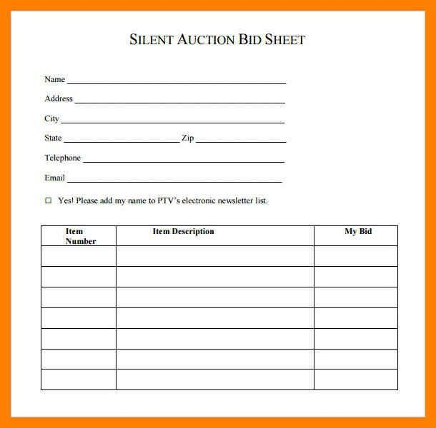 6+ silent auction bid sheet template | simple cv formate