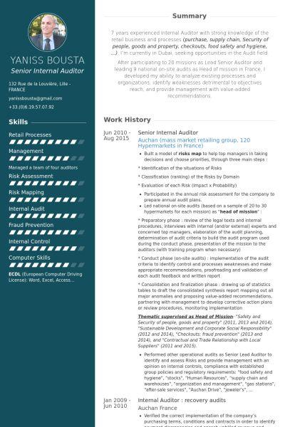 Internal Auditor CV Örneği - VisualCV Özgeçmiş Örnekleri Veritabanı