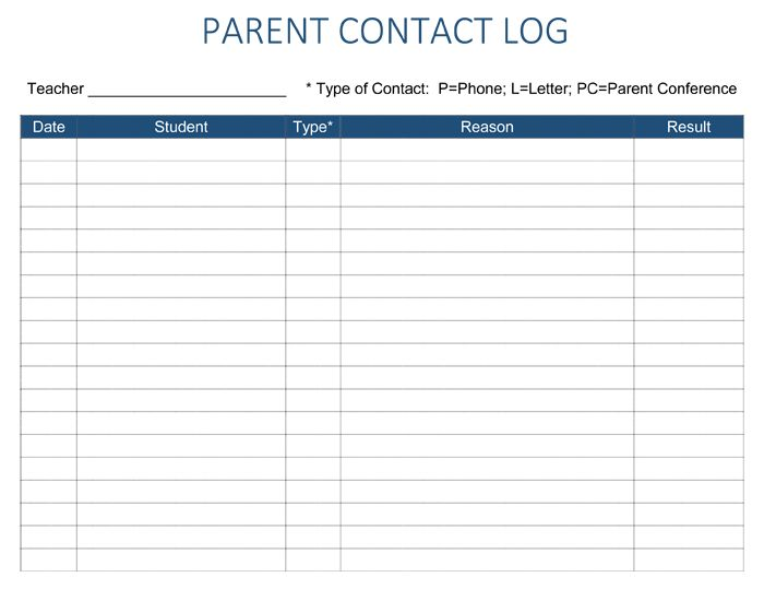 Parent Contact Log Template - 5 Plus Parent Contact Log Sheets
