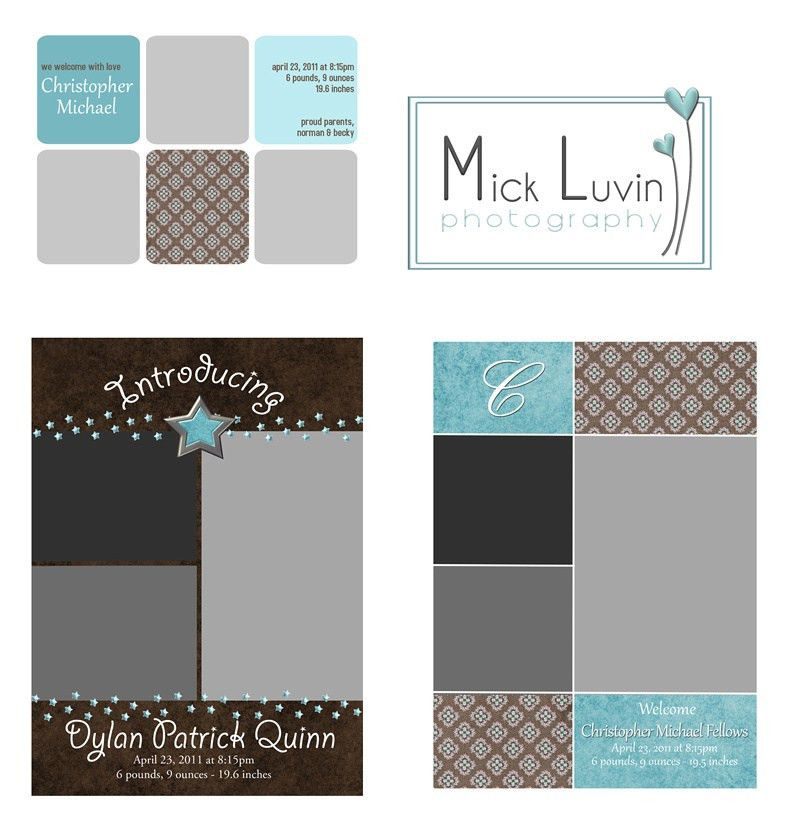 MICK LUVIN PHOTOGRAPHY | Baby Boy Birth Announcement Templates