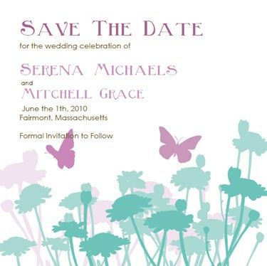 Butterfly Wedding Invitations: Lavendar and Turquoise Invitation ...