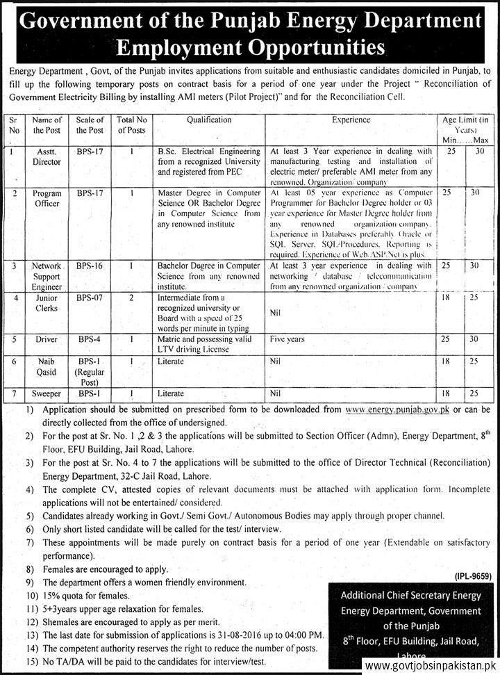 Punjab Energy Department Job, Assistant Director, Program Officer ...