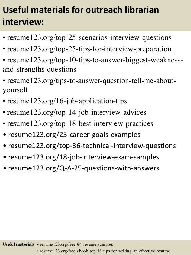 Top 8 outreach librarian resume samples