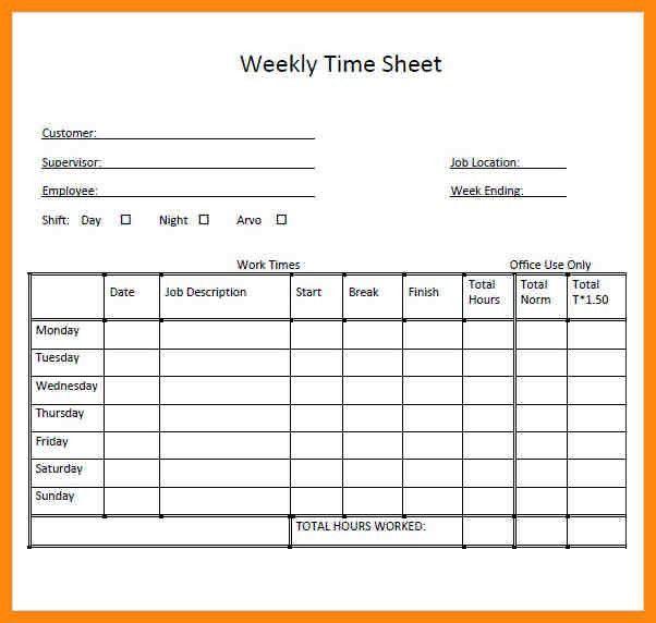 weekly timesheet excel