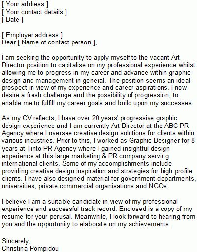 Graphic Designer Covering Letter Sample