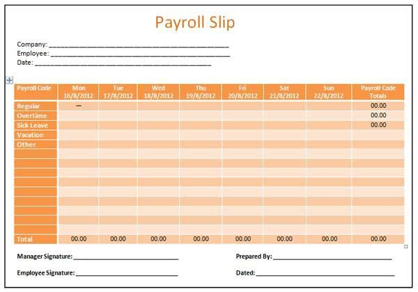 Microsoft Word Templates: Payroll Slip Template