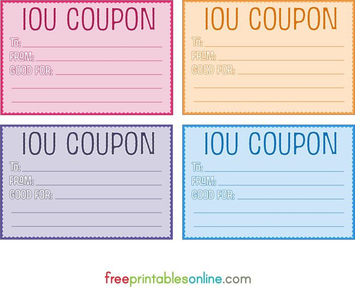 Colorful free printable IOU coupons | DIY | Pinterest | Free ...