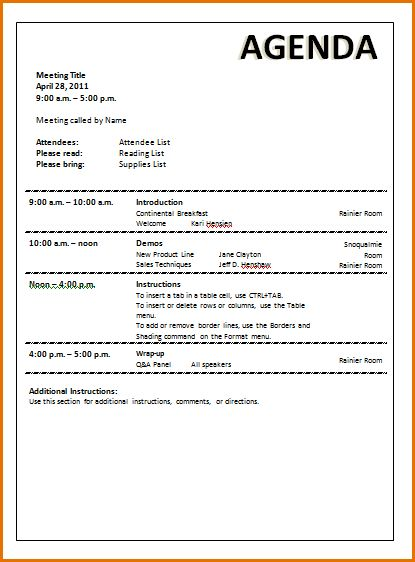 8+ meeting agenda template word | Job Resumes Word