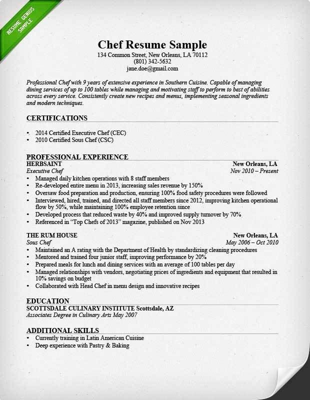 Awesome chef resume sample with chef resume objective statement ...