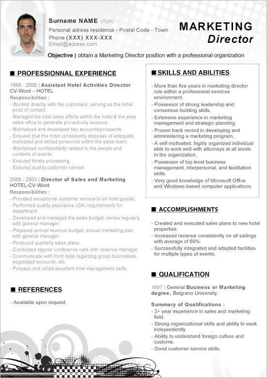 Click Here To Download This Word Resume Marketing Director ...