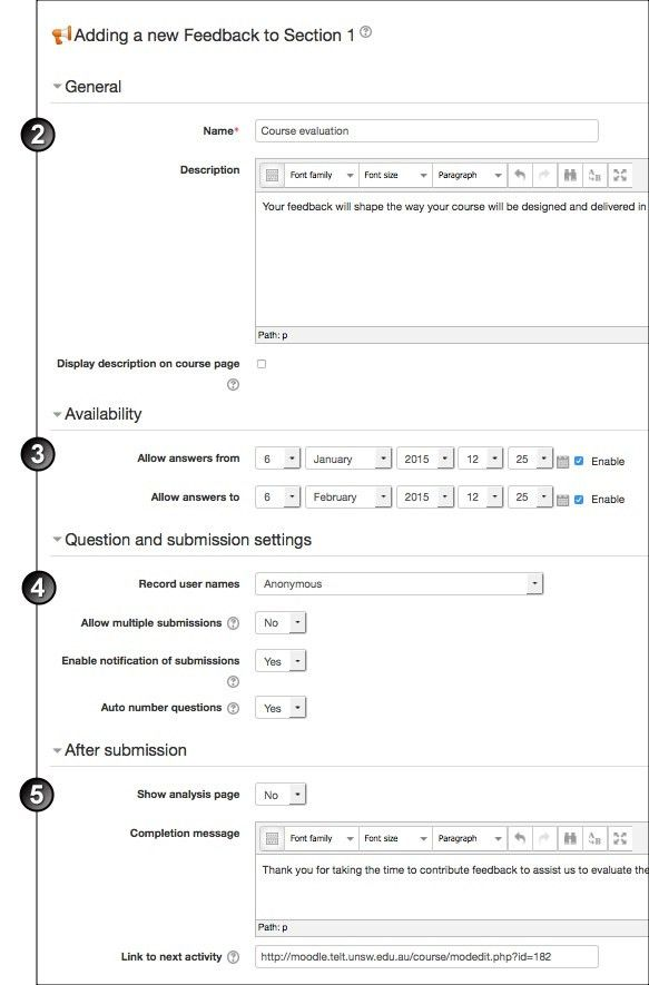 Create a Feedback Activity in Moodle | UNSW Teaching Staff Gateway