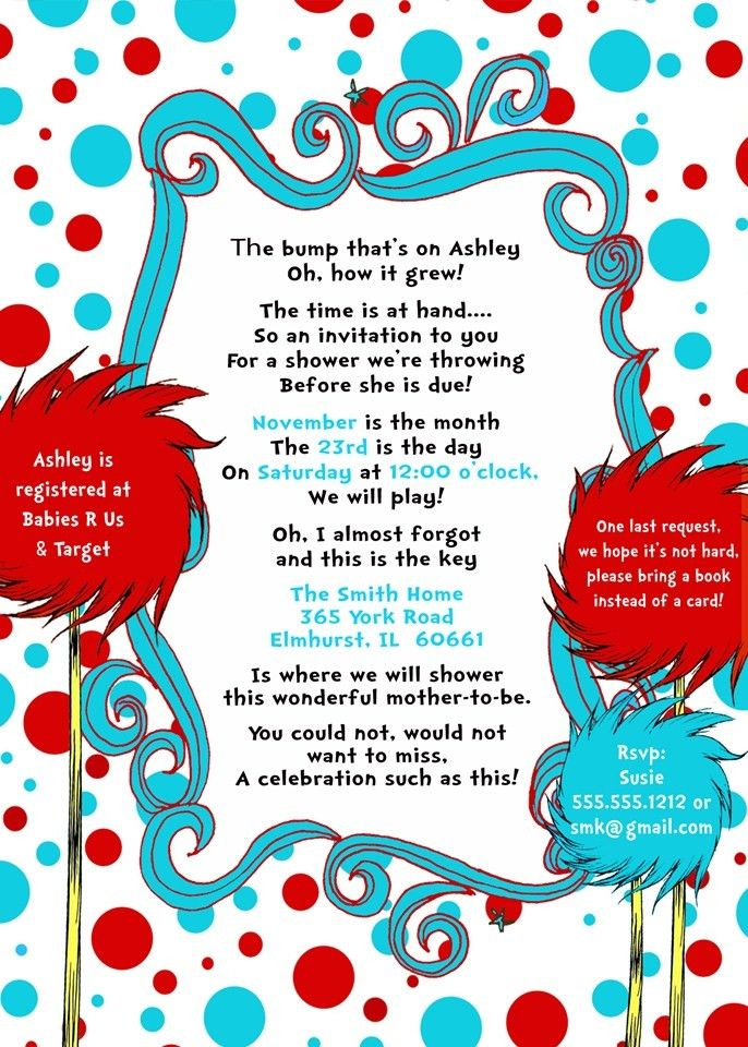 Dr. Seuss Baby Shower Printable Invitation Design, Turquoise & Red ...