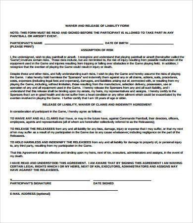 Free Liability Release Form - cv01.billybullock.us