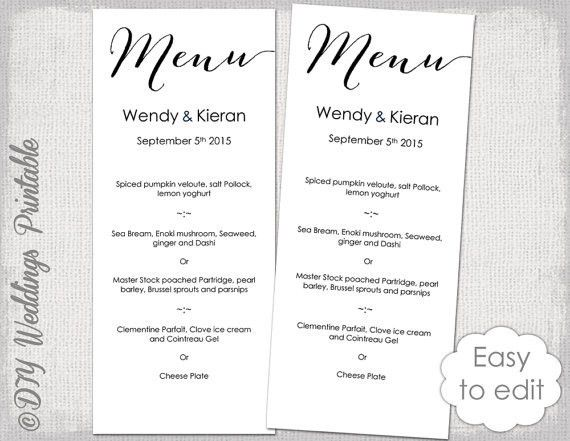 Wedding Menu template Modern calligraphy script black menu DIY