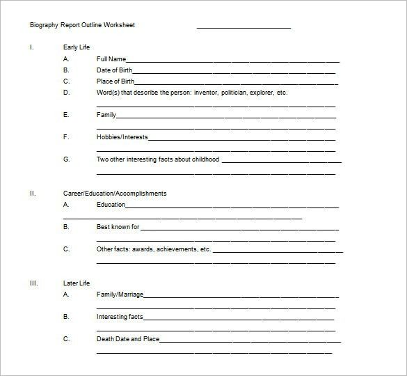 Biography Outline Template – 11+ Free Word, Excel, PDF Format ...