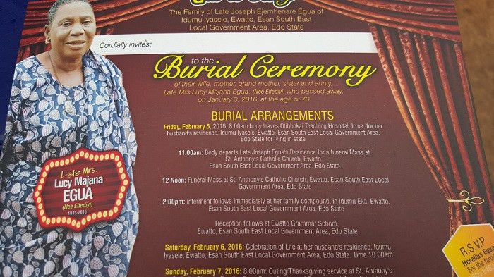 Invitation To The Burial Of Late Mrs. Lucy Egua | Frontiers News