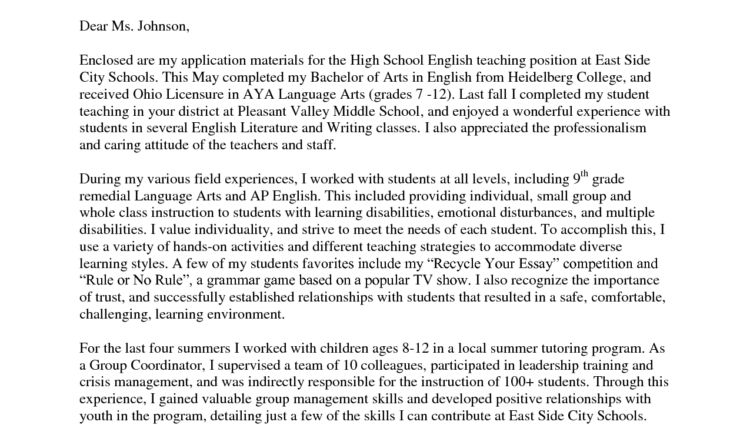 Cover Letter Teaching Position Sample Letter of Interest for ...