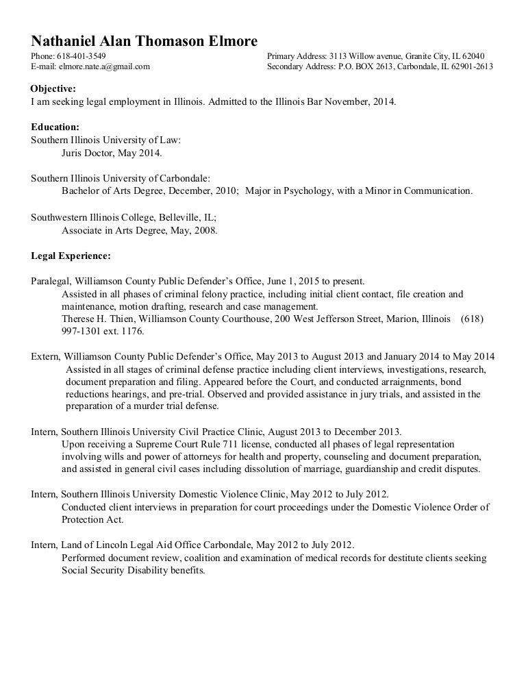Resume, Nathaniel A. Elmore 2014