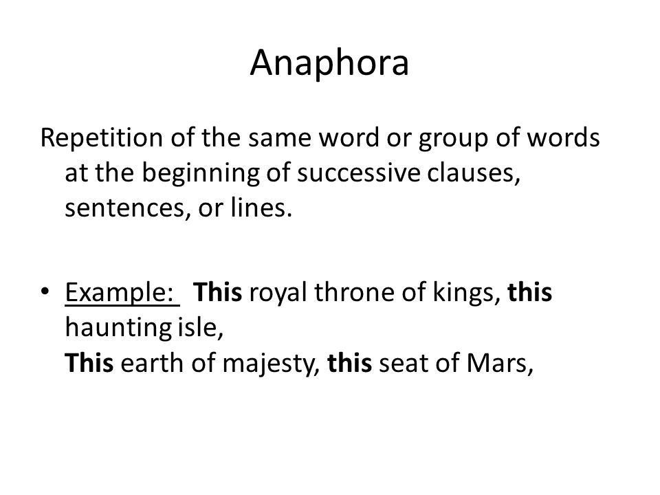 Effects of anaphora and other kinds of repetition, punctuation ...