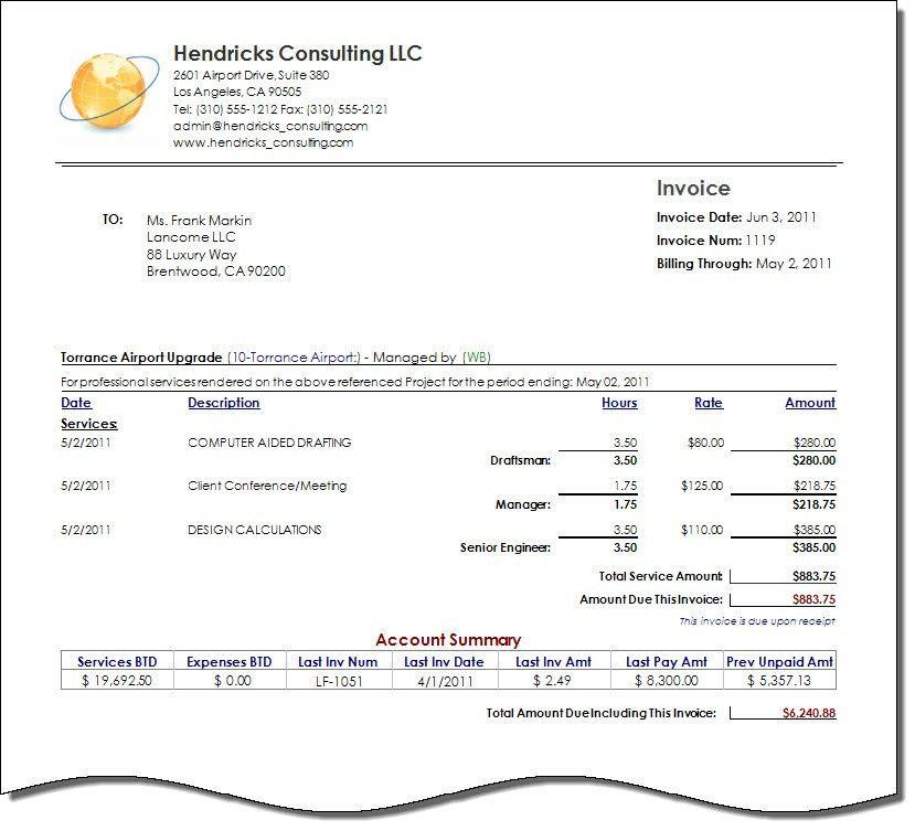 Consultant Invoice Template | invoice example