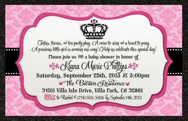 Princess Baby Shower Invitation Wording - iidaemilia.Com