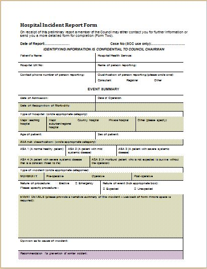 Injury, Hospital & Hotel Incident Report Forms | Document Templates